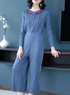 Stylish Blue High Waist Striped Wide-leg Jumpsuits