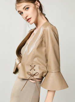 O-neck Flare Sleeve Short Leather Jacket