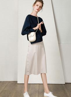 Casual White High Waist Zippered Slim A Line Skirt