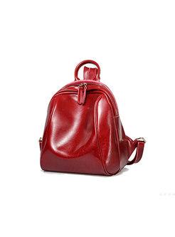 Wine Red Casual Cowhide Zip-up Mini Backpack