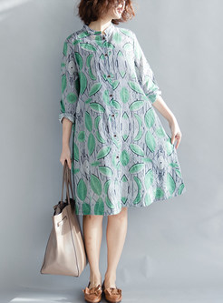 Stylish Long Sleeve Single-breasted Print Shift Dress