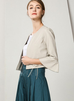 Flare Sleeve Tied Slim Leather Jacket