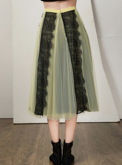Casual Color-blocked Lace Splicing Mesh A Line Skirt