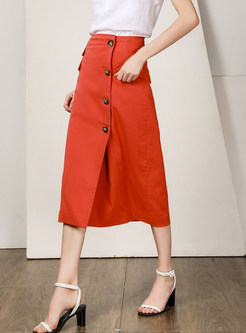 Fashion High Waist Slim Sheath Midi Skirt