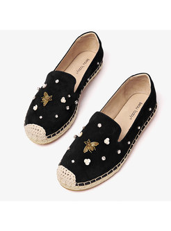 Chic Rhinestone Leather Flat Casual Shoes
