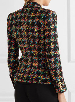 Stylish Houndstooth Double-breasted Cropped Blazer