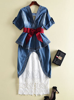 Chic Blue Ruffled Hem Denim Top & Lace Hollow Out Skirt