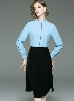 Fashion Blue Long Sleeve Blouse & Black High Waist Split Skirt