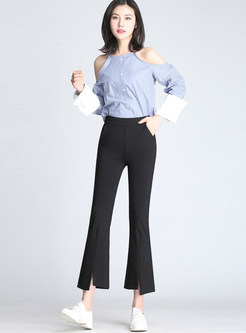 Brief Pure Color Elastic Waist Slit Flare Pants