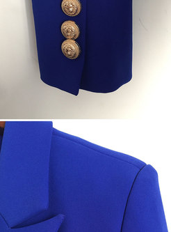 Royal Blue Notched Double-breasted Slim Short Blazer