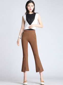 Elastic Waist Plus Size Pocket Irregular Slit Flare Pants