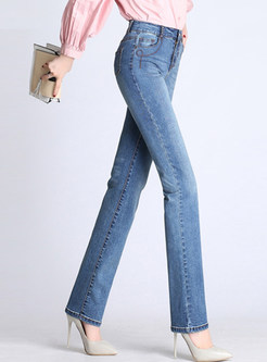 High Waisted Plus Size Straight Jean Pants