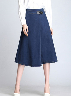 51dca34ada4 Fashion High Waist Loose Plus Size Midi Denim Skirt