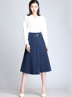 Fashion High Waist Loose Plus Size Midi Denim Skirt