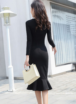 Sexy O-neck Long Sleeve Slim Mermaid Dress