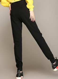 Casual Color-blocked Elastic High Waist Tied Pants
