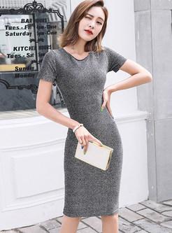 O-neck Short Slim Knee-length Bodycon Dress