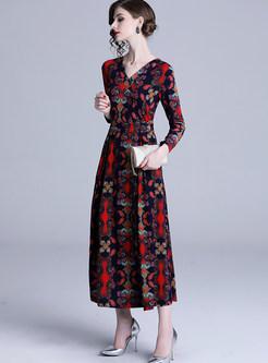 V-neck Long Sleeve Print Big Hem Dress