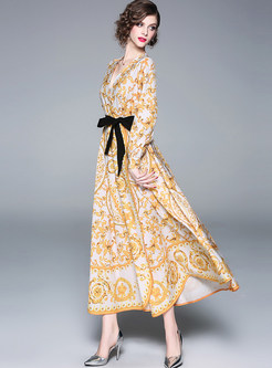 Color-blocked V-neck Bowknot Tied Waist Print Dress