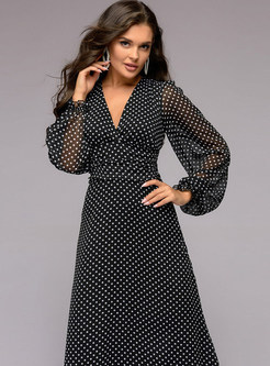 Hepburn Style Polka Dot Lantern Sleeve Chiffon Dress