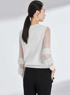 Mesh Splicing O-neck See-though Knitted Sweater