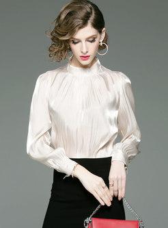 Stylish White Standing Collar OL Work Silk Blouse