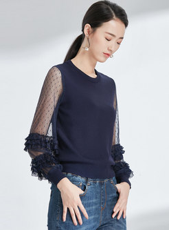 Navy Mesh Splicing O-neck See-though Knitted Sweater