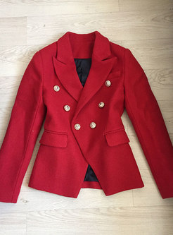 Autumn Red Notched Long Sleeve Woolen Blazer