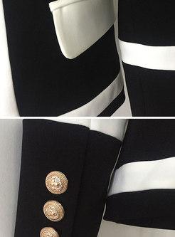 Stylish Black-white Blocked Double-breasted Blazer
