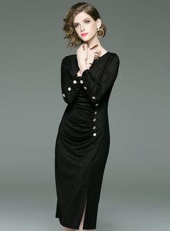 Sexy Black Crew-neck High Waist Wrap Sheath Dress