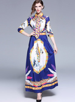 Court Lapel Long Sleeve Waist Print Maxi Dress