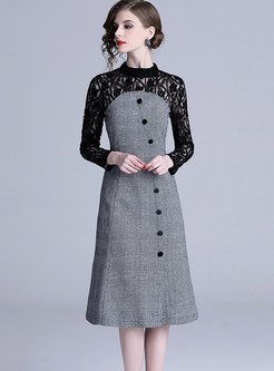 Hollow Out Lace Standing Collar Houndstooth Dress
