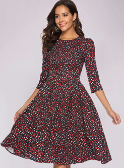 Retro Color-blocked Casual Print Waist Skater Dress