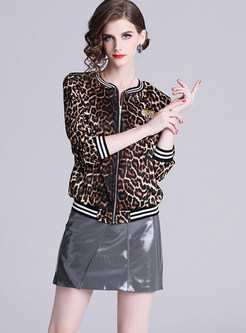 Fashion O-neck Long Sleeve Zippered Leopard Coat