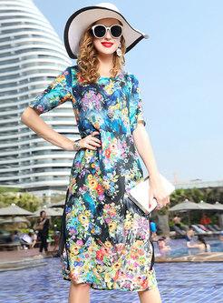 c54073080505 Elegant Crew-neck All Over Print Silk Dress ...