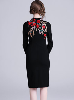 Hepburn Style Standing Collar Embroidered Bodycon Dress