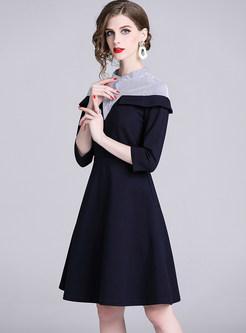Standing Collar Striped Splicing Waist Skater Dress