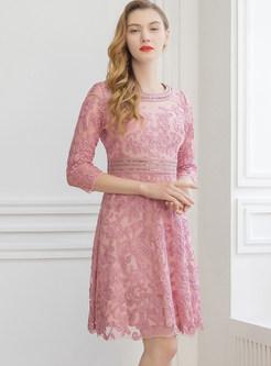 Three Quarters Sleeve Mesh Jacquard Waist Dress