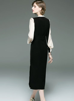 Chic Hit Color Splicing Lantern Sleeve Split Dress