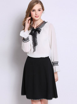 Casual Black High Waist All-matched A Line Mini Skirt
