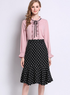 Black Dots High Waist Chiffon Asymmetric Skirt