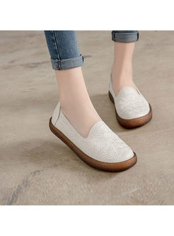 Casual Ethnic Embroidered Flat Daily Loafers