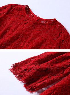 Elegant O-neck Flare Sleeve Plus Size Lace Dress