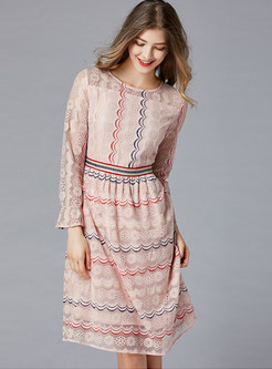 O-neck Plus Size Striped Waist Lace A Line Dress
