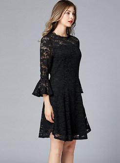 Black Flare Sleeve Hollow Out Lace Big Hem Skater Dress