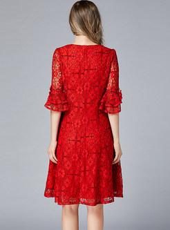 Lace Flare Sleeve Knee-length Skater Dress