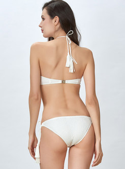 Sexy Solid Color Halter Tied Gathered Bikini