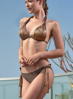 Fashion Halter Tied Bowknot Triangle Bikini