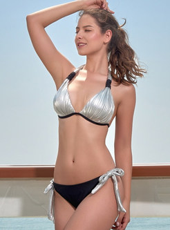 Fashion Halter Tied Bowknot Triangle Bikini