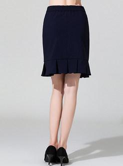 High Waist Solid Color Mini Sheath Mermaid Skirt
